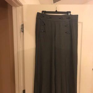 Charcoal gray high waisted wide leg pants.